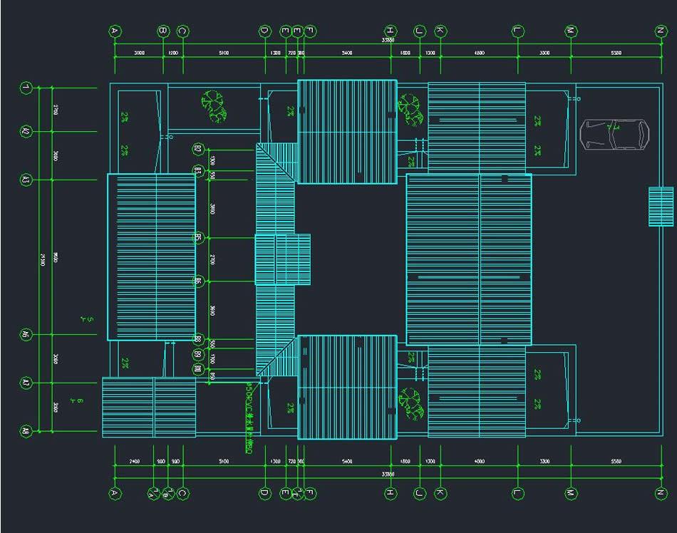 带车库现代四合院设计图